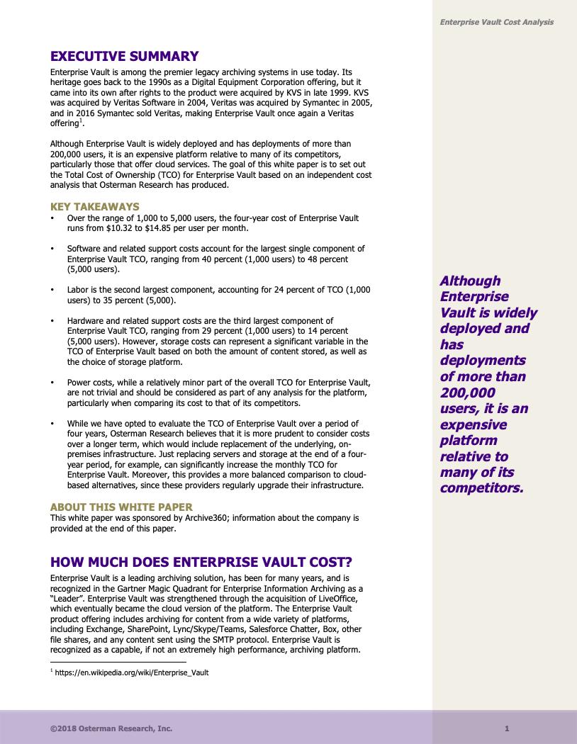Osterman_Enterprise Vault Cost1