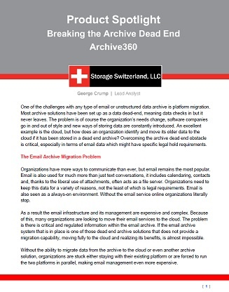 Breaking the Archive Dead End: A Briefing Note by George Crump, Storage Switzerland